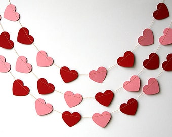 Valentines day heart garland, Red pink heart garland, Valentine decor, Valentines day decor, Paper garland, Wedding decoration, KCO-3050