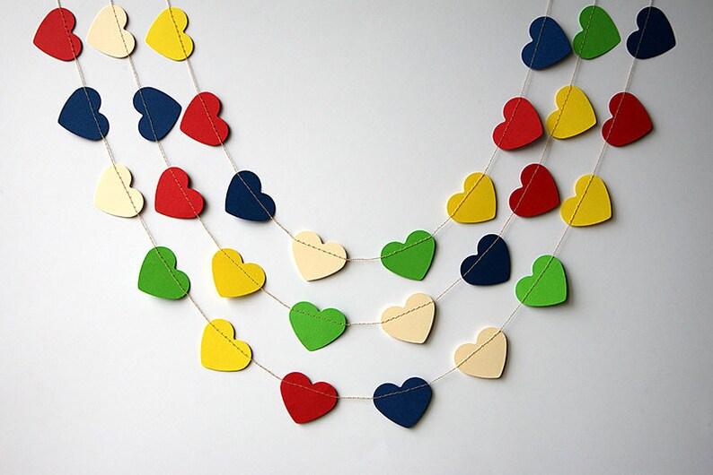 blue cream yellow garland KCO-3023 Rainbow garland Green Heart garland Baby shower decor Nursery decor red Rainbow heart garland
