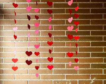 Valentines Backdrop, Valentines Day Decor, 6 Strands Set, Valentine Party Decor, Valentine Photo Prop, Red Heart Garland, KBCO-040