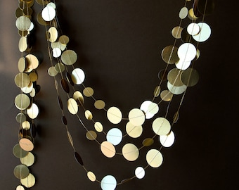 Christmas decor, Christmas garland, Gold wedding garland, Gold garland, Shimmer garland, Wedding decor, Circle paper garland, KMG-0001