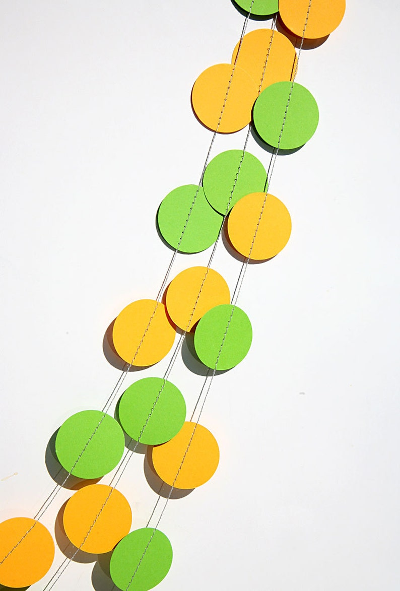 Paper Garland Party Decor Yellow Lime Green Circles Etsy