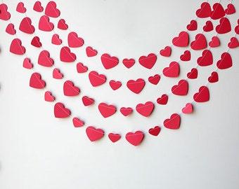 Valentines Day decor, Valentine garland, Valentine Heart Banner, Love garland, Pink garland, Valentine decoration, Heart Bunting, KCO-3033