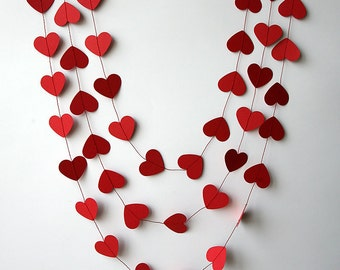 Wedding garland, Red heart garland, Wedding decoration, Heart garland, Wedding party decor, Paper garland, Bridal shower decor, KCO-3047