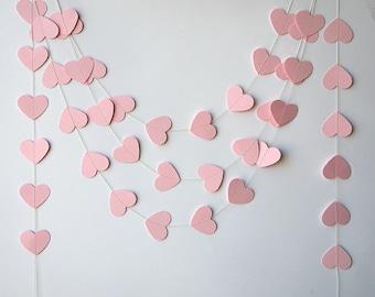 Paper garland, Wedding decorations, Pink heart garland, Heart garland, Pink garland, Wedding garland, Baby shower, Bridal shower, KCO-3042