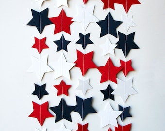 Star garland, 4th of July garland, 4th of July decor, Red white blue, Paper garland, Patriotic decor, 4th of July banner