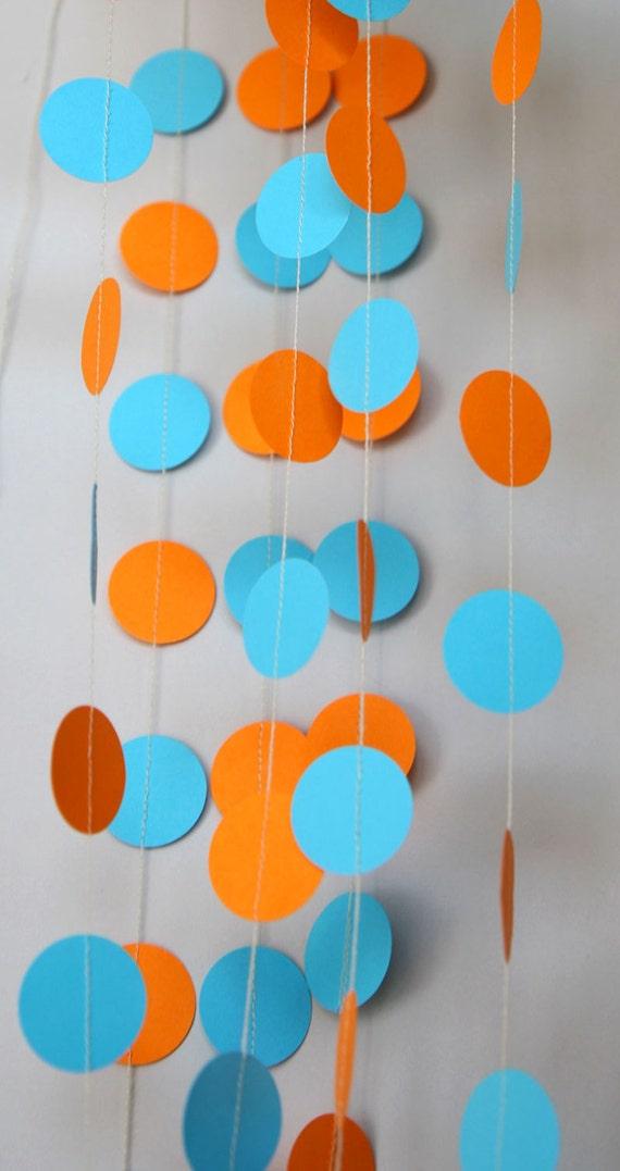Circus Garland Orange Aqua Wedding Blue Party Decorations Paper Birthday Nursery Decor KC 1013