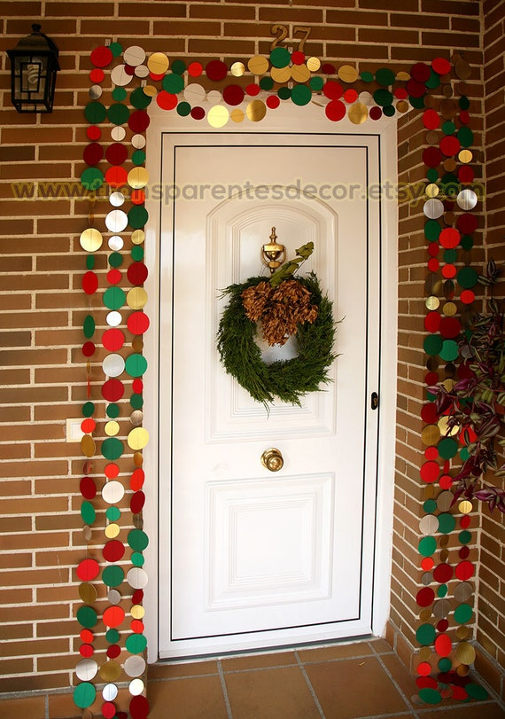Christmas Decorations Door Christmas Garland Gold Silver Green Red