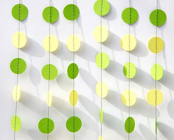 Green Yellow Garland Party Decor Birthday Decorations Paper Baby Shower Circles KC 1224