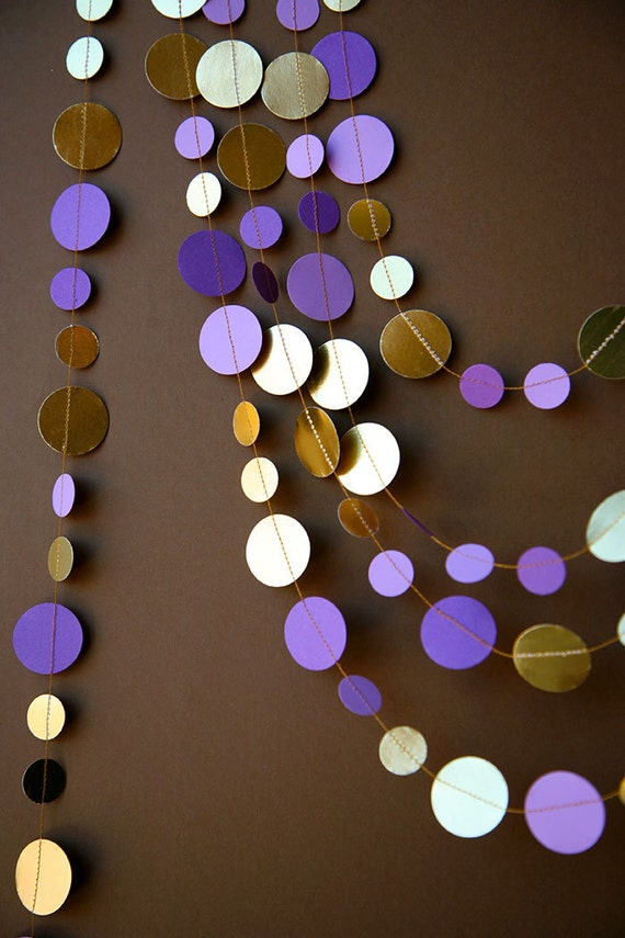 Purple And Gold Garland Wedding Garland Bridal Shower Decor Etsy