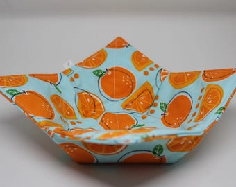 Fabric Bowl / Microwave Pot Holder / Microwave Hot Pad / Fabric Candy Bowl / Hot Pad /Oranges
