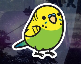 """Chubby Male Parakeet - Green 3.5"""" Sticker [Outdoor Quality] 1-3pc Package Options"""