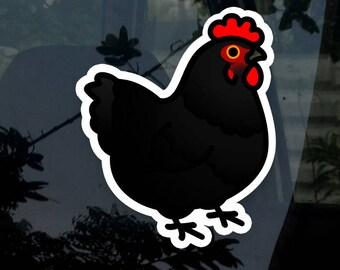 "Chubby Black Chicken 3.5"" Sticker [Outdoor Quality]"