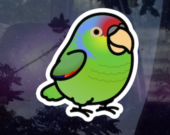 """Chubby Lilac-crowned Amazon Parrot 3.5"""" Sticker [Outdoor Quality]"""