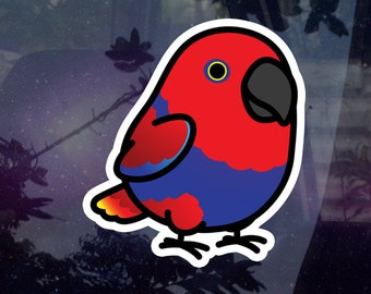 """Chubby Eclectus Female 3.5"""" Matte* Sticker [Outdoor Quality]"""