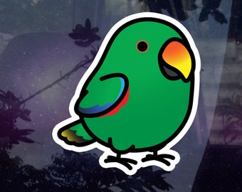 """Chubby Eclectus Male 3.5"""" Sticker [Outdoor Quality] 1-3pc Package Options"""