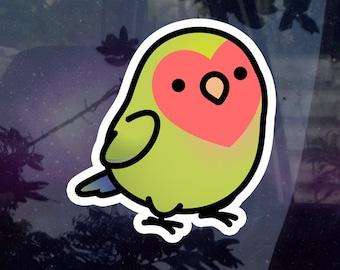"Chubby Lime Peach-face Lovebird 3.5"" Sticker [Outdoor Quality]"
