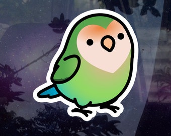 """Chubby Seagreen Peach-faced Lovebird 3.5"""" Sticker [Outdoor Quality]"""