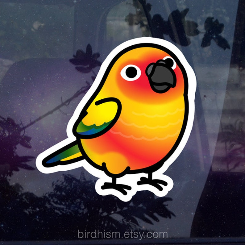 Chubby Sun Conure 3.5 Sticker 1-3pc Options Outdoor image 0