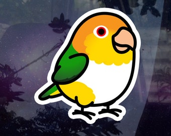 """Chubby White Bellied Caique 3.5"""" Sticker [Outdoor Quality]"""