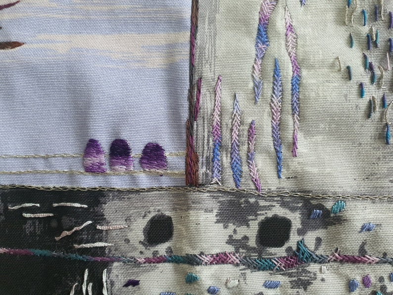 Purple and gray hand embroidery abstract wall art