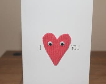 Knitted I heart you Card