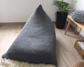 Knit Lounge Bean Bag Chair, Giant Floor Pillow, Large Daybed Cushion, Adult Beanbag Sitzsack, Modern Entertainment Room Furniture