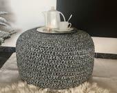 Large Round Ottoman Coffee Table, Black & White Knit Pouf, Boho Pouffe Footstool - Living Room Decor - Housewarming Male Gift