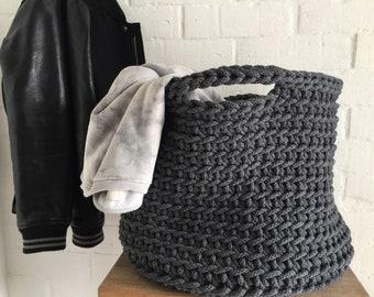 Crochet Round Basket Bag, Nursery Hamper with Handles, Large Toys Storage, Laundry Basket Bin, Modern Home Organizer