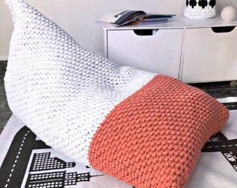 Knit Bean Bag Chair, Giant Lounge Floor Pillow Pouf, Large Floor Cushion Seating, Kids Daybed Cushions, Teens Room Gift