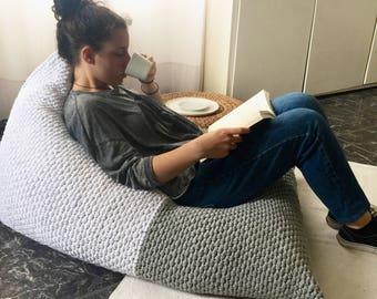 Adult Lounge Bean Bag Chair, White Grey Large Lounger Bean Sacks, Daybed  Cushion, Giant Floor Pillow, Teen Beanbag Chair, Sitzsack