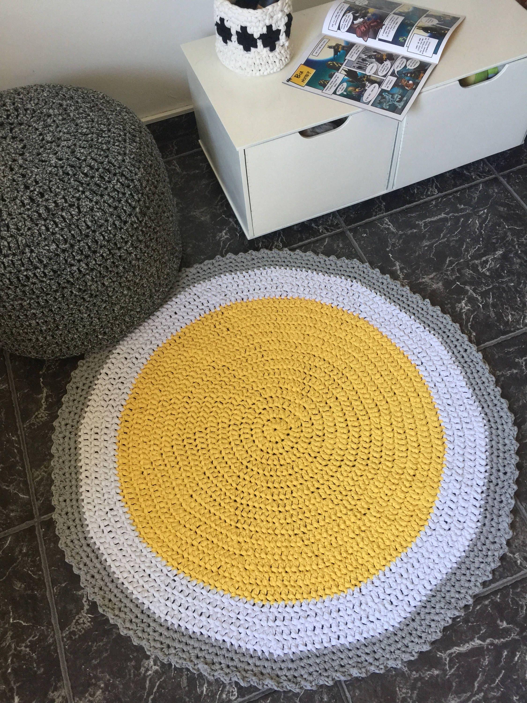 Yellow Crochet Round Rug Soft Cotton Baby Play Mat Nursery