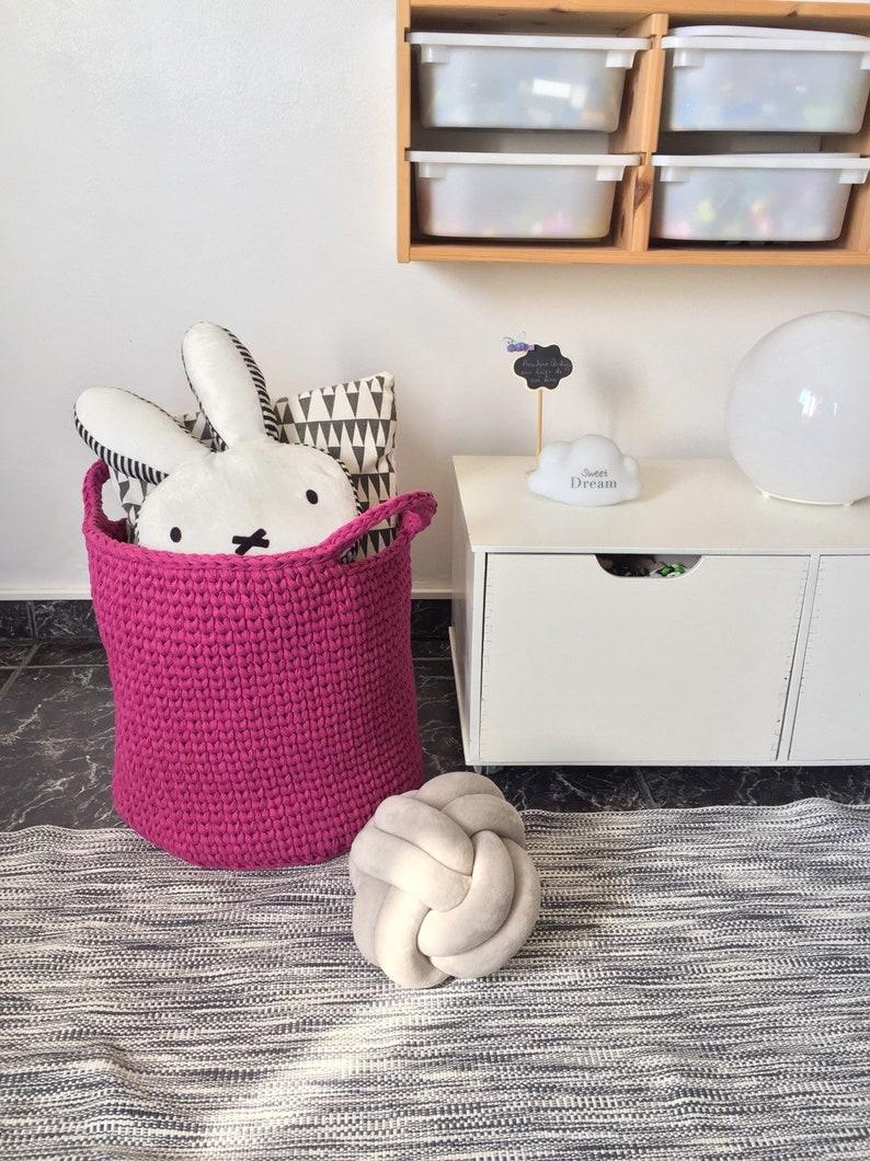 Large Knit Toy Storage Basket Violet Round Nursery Bin Modern Laundry Storage Sturdy Cotton Basket