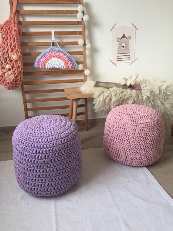 Rond Rembourré Pouf Au Crochet Menthe Pépinière Ottoman Tabouret Tricoté Pouf Coussin De Sièges Robuste Moderne Nouveau Cadeau De Parents