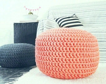 Coral Peach Large Crochet Ottoman Pouf, Nursery Footstool, Round Floor Pillow, Seating Cushion, Knit Pouffe, Gift for New Mom