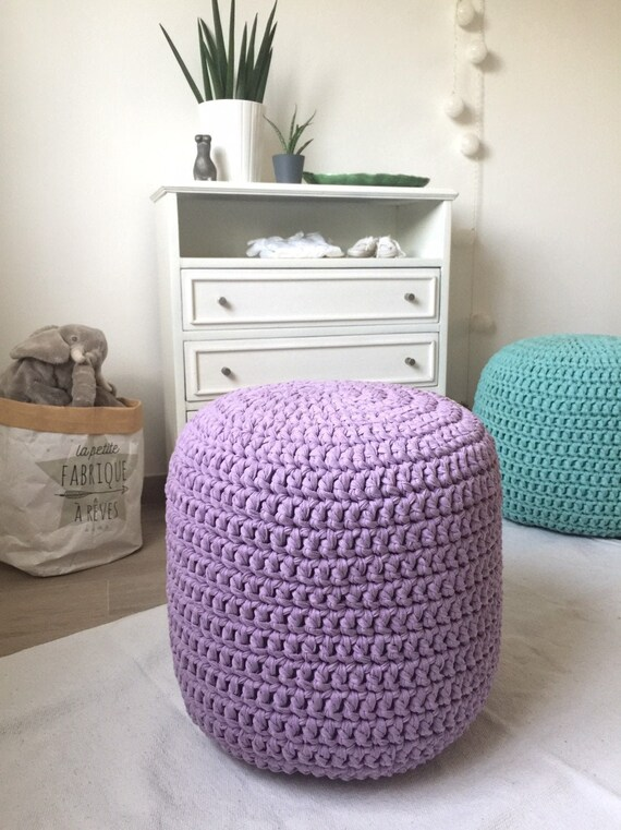 Phenomenal Crochet Round Stuffed Pouf Ottoman Lavender Knit Footstool Pouffe For Nursery Lilac Baby Room Seat And Side Table New Parents Gift Caraccident5 Cool Chair Designs And Ideas Caraccident5Info