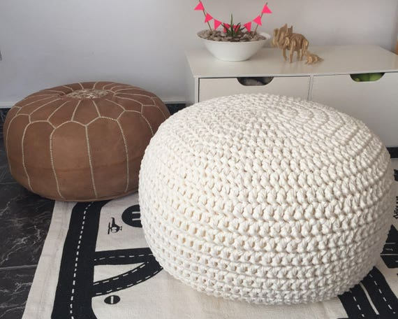 Awesome Nursery Pouf Cream Round Ottoman Soft Pearl Footstool Baby Room Knitted Pouffe New Parents Gift Cjindustries Chair Design For Home Cjindustriesco