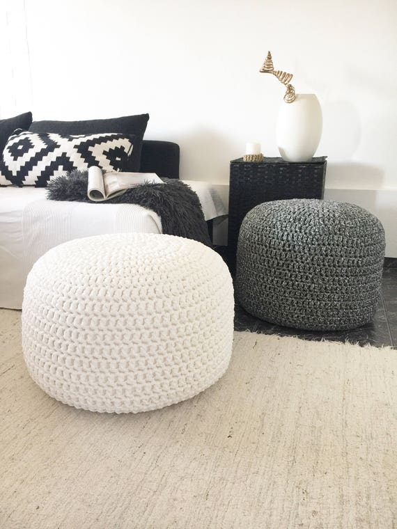 Excellent Large Round Pouf Ottoman Footstool Coffee Table Stuffed Chunky Knit Pouffe Nursery Crochet Pouf Gift For New Mom Machost Co Dining Chair Design Ideas Machostcouk