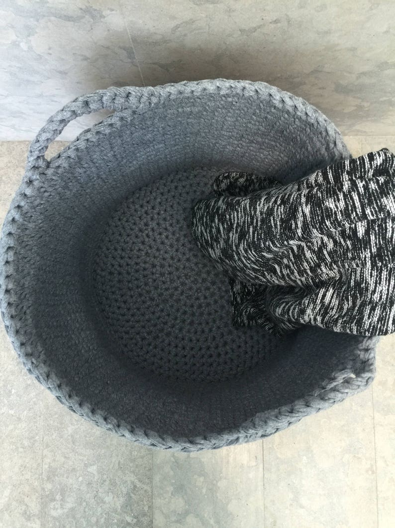 Round Bin Basket Modern Home Storage Nursery Decor Laundry Basket Large Crochet Storage Basket Big Toys Basket