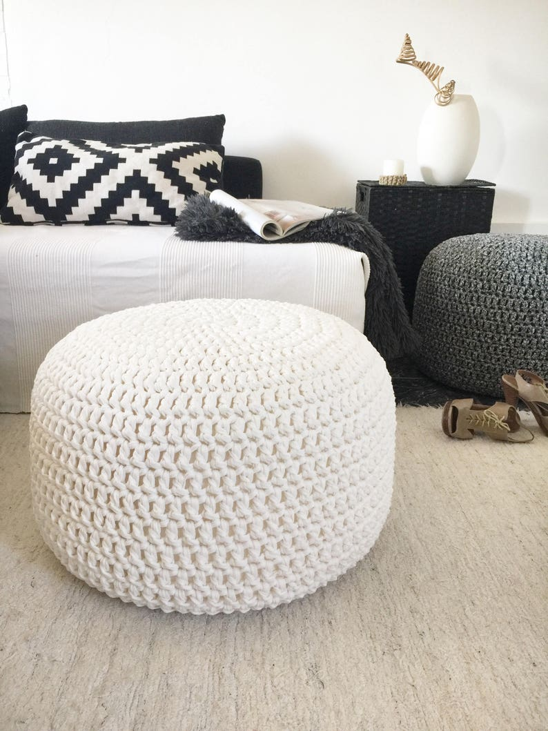 Large Round Crochet Pouf Pearl Ottoman Coffee Table Nursery Etsy