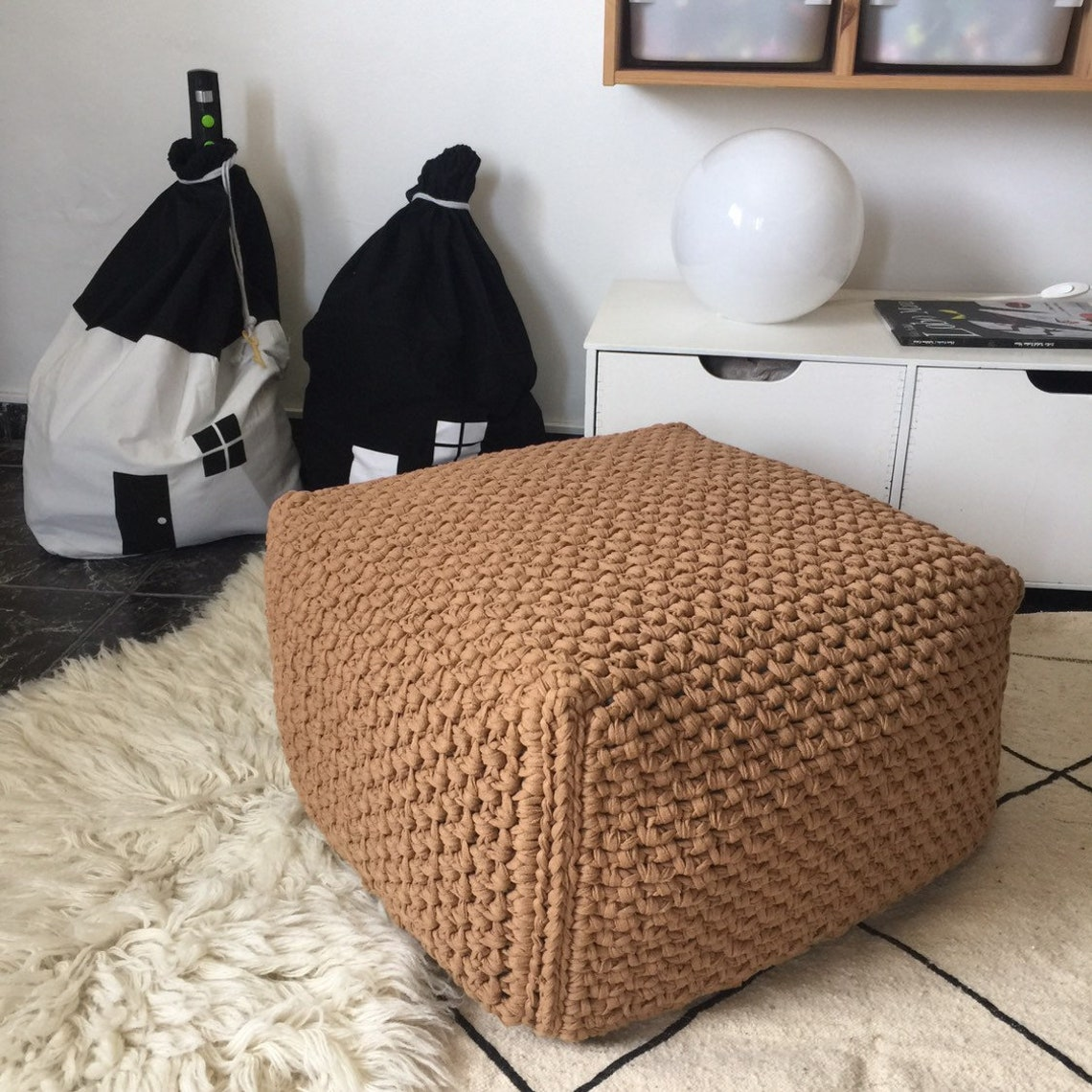 Square Ottoman Slipcover, Crochet Pouf Stool Cover, Bespoke Knit Cover