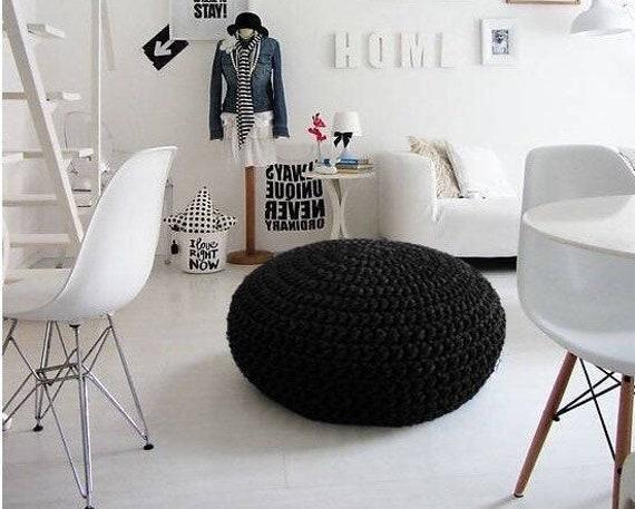 Schwarz häkeln puff osmanischen große runde bodenkissen sitz etsy