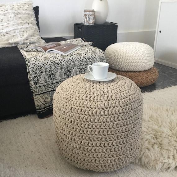Gold Crochet Round Pouffe Footstool Chic Nursery Pouf Etsy Fascinating Gold Pouf Nursery