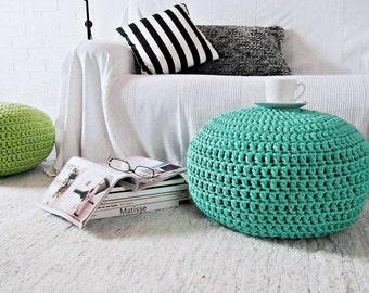 Aqua Mint Knitted Pouf, Nursery Footstool, Large Round Ottoman, Modern Home Decor, Kids Floor Pillow Seating