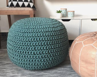 Large Round Pouf Ottoman, Chunky Knit Footstool, Teal Blue Pouffe Seating - Modern Kids Room Decor Floor Pillow