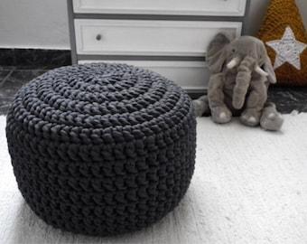 Dark Grey Crochet Pouf, Round Ottoman, Charcoal Knit Floor Pillow, Nursery Footstool, Floor Cushions, Crochet Large Pouffe, Floor Seating