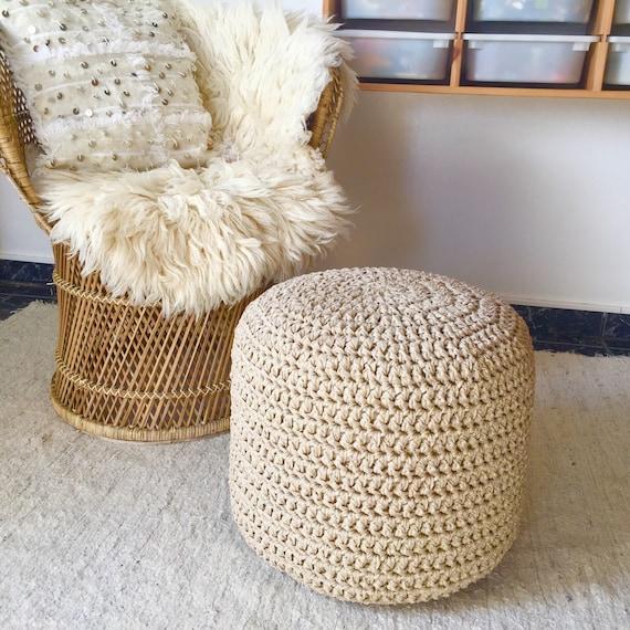 Gold Crochet Round Pouffe Footstool Chic Nursery Pouf Etsy Delectable Gold Pouf Nursery