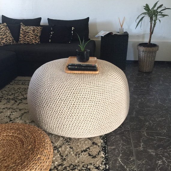 Large Round Ottoman Coffee Table Giant Crochet Pouf Xxxl Etsy