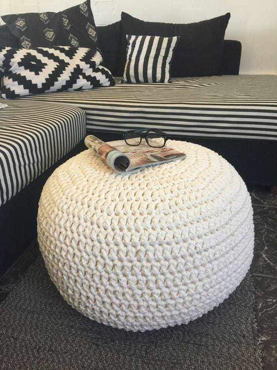 Excellent Large Round Pouf Ottoman Footstool Coffee Table Stuffed Chunky Knit Pouffe Nursery Crochet Pouf Gift For New Mom Caraccident5 Cool Chair Designs And Ideas Caraccident5Info
