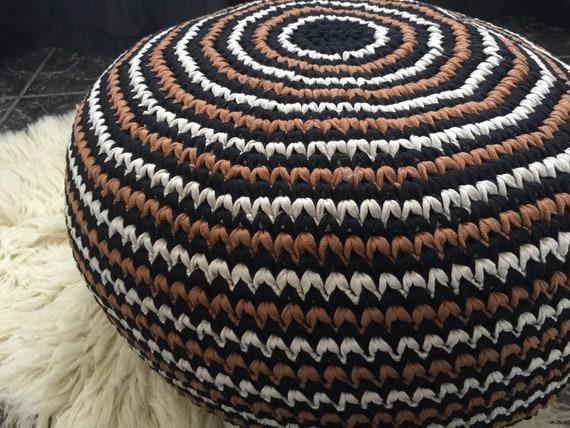 Boho Crochet Pouf Ottoman Rondes En Coussin De Sol Coussin De Sol Assise Pouf Repose Pieds Ferme Rustique Decor Cadeau Pour Les Parents