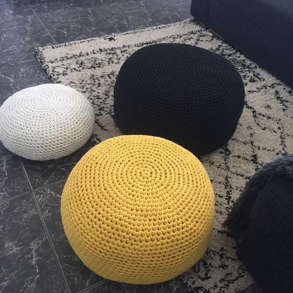 Round Crochet Ottoman Pouf Grande Pouffe En Tricot Chunky Sièges De Coussin De Plancher Moderne Cadeau De Famille Dhôte